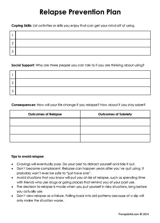 Relapse Prevention Plan (version 2) (worksheet)