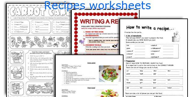 Recipes Worksheets