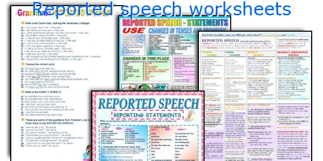 Reported Speech Worksheets