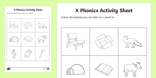 X Phonics Colouring Worksheet   Worksheet
