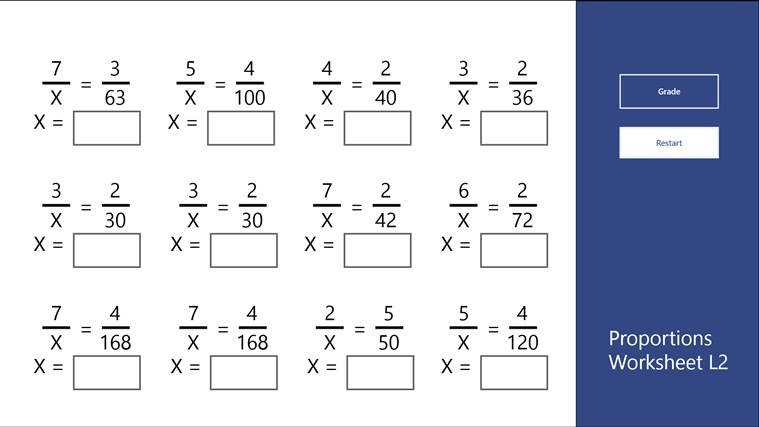 Proportions Worksheet L2 For Windows 8 And 8 1