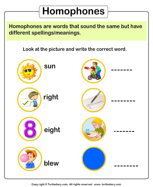 Spelling Homophones Worksheet