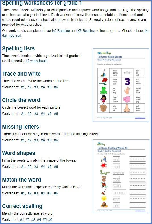 First Grade Spelling Worksheets