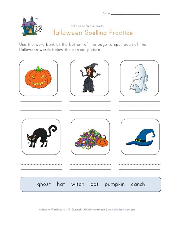 Halloween Spelling Practice Worksheet