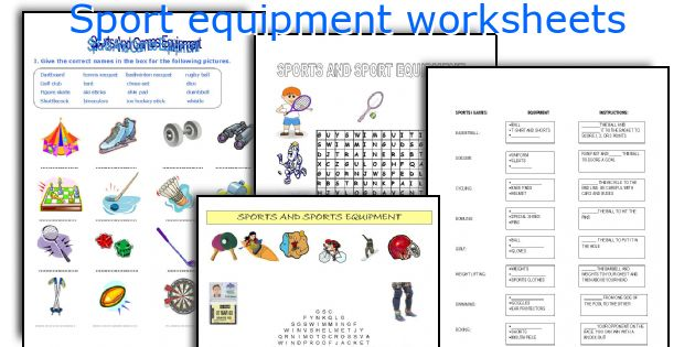Sport Equipment Worksheets