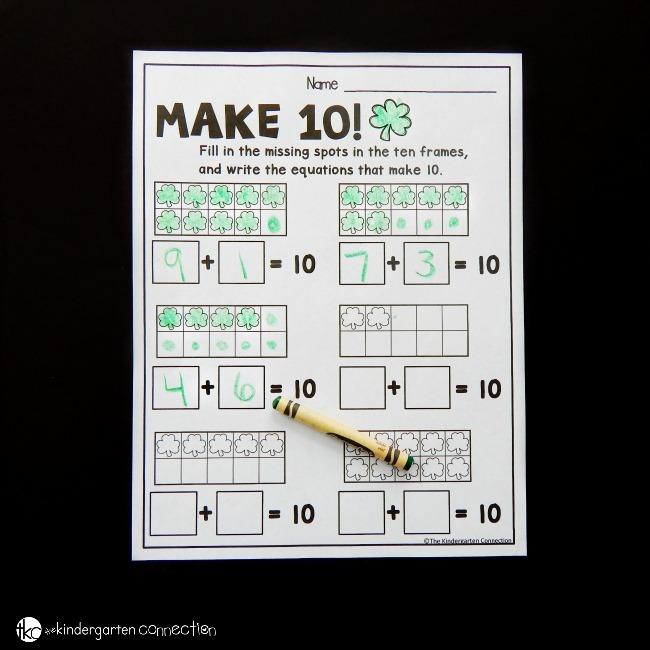 Free St  Patrick's Day Make 10 Worksheets