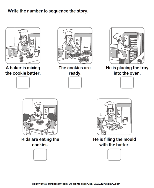Story Sequencing Baker And Cookie Worksheet