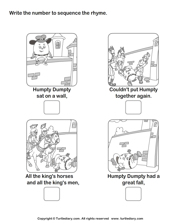 Story Sequencing Humpty Dumpty Worksheet