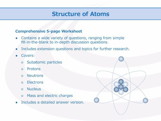 Structure Of Atoms [worksheet] By Goodscienceworksheets