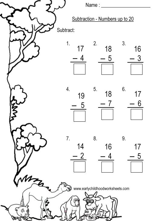 Subtraction Up To 20 Worksheets Choice Image