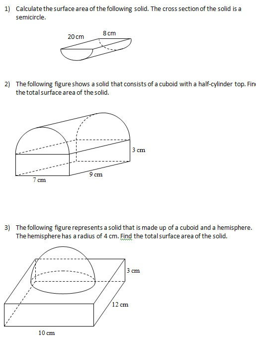 Surface Area Of Solids (worksheets, Solutions)