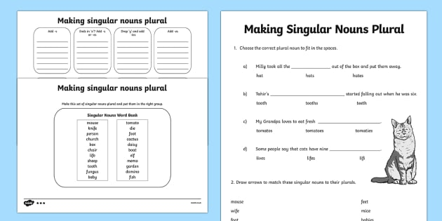 Making Singular Nouns Plural Worksheet   Worksheet Differentiated