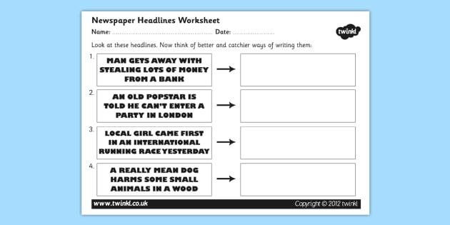 Newspaper Headline Writing Worksheet