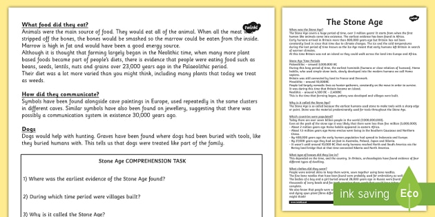 Stone Age Reading Comprehension Activity