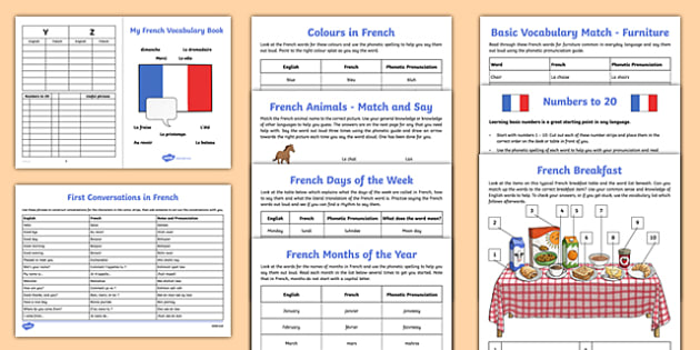 Learn French Worksheet   Worksheet Starter Pack