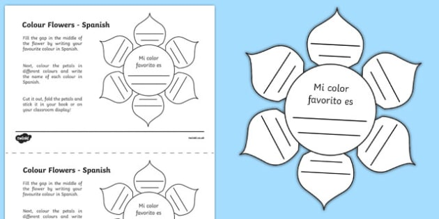 Mfl Spanish Colour Flowers Worksheet   Worksheet, Worksheet