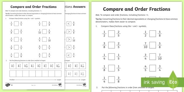 Year 6 Order Fractions Worksheet   Worksheet