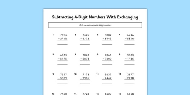 Subtracting 4 Digit Numbers With Exchanging