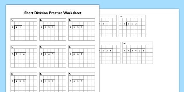 Short Division Practice Worksheet