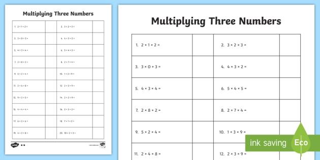 Multiply 3 Numbers Worksheet   Worksheet