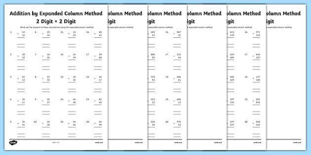 Column Method Addition Year 3