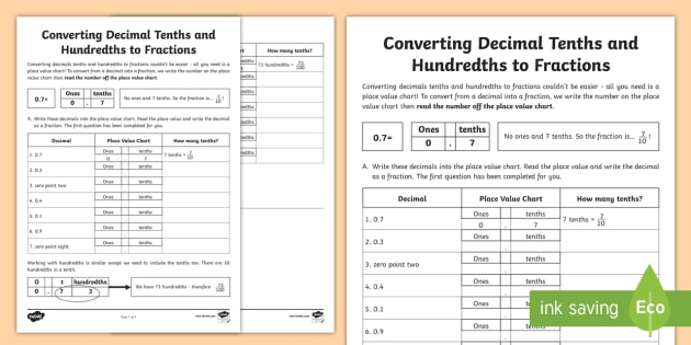 Converting Decimal Tenths And Hundredths To Fractions Worksheet