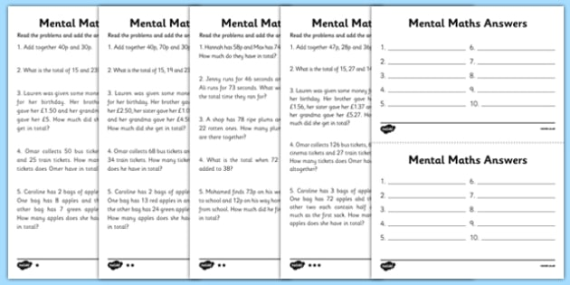 Mental Maths Adding Worksheets