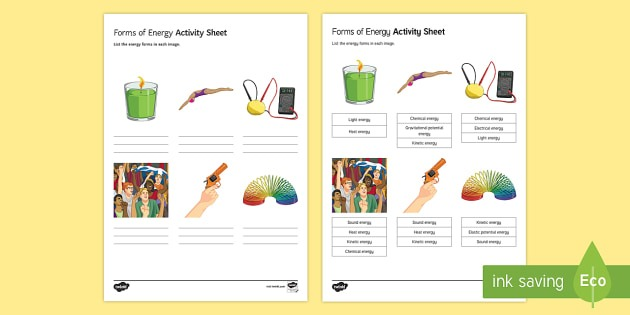 Forms Of Energy Worksheet   Worksheet