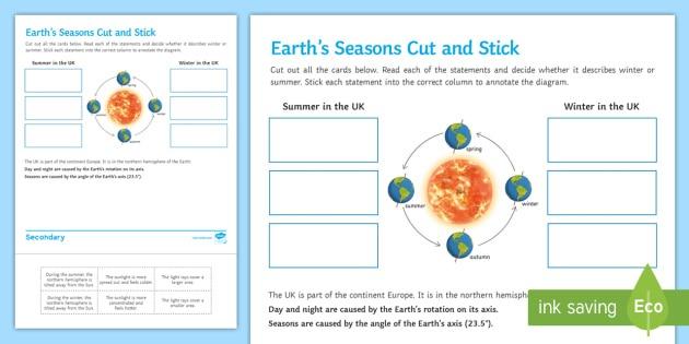 Earth's Seasons Cut And Stick Worksheet   Worksheet