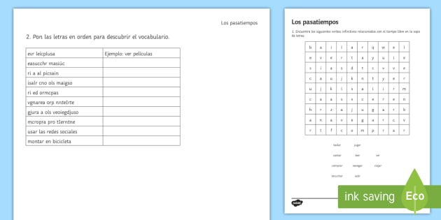 Spanish Hobbies And Free Time Activities Worksheet   Worksheet