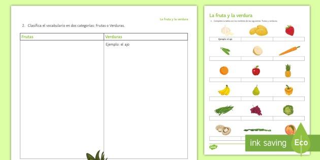 Fruit And Vegetables Worksheet   Worksheet