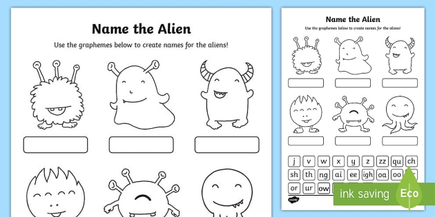 Phase 3 Phonics Name The Alien Worksheet   Worksheet