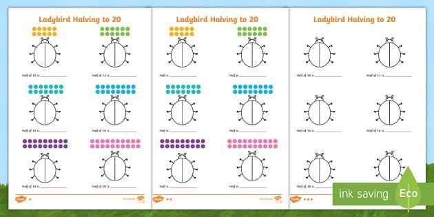 Differentiated Halving To 20 Ladybird Worksheet   Worksheets