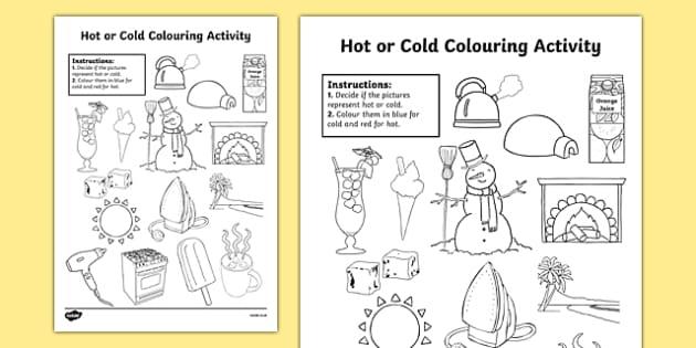 Hot Or Cold Colouring Worksheet   Worksheet