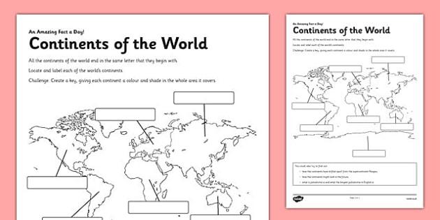 Continents Of The World Worksheet   Worksheet