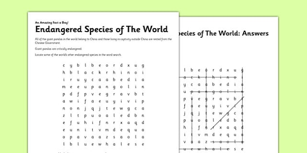 Endangered Species Of The World Worksheet   Worksheet
