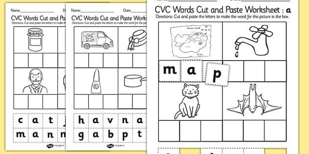 Cvc Words Cut And Paste Worksheet   Worksheet A