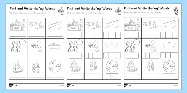 Find And Write The Ay Words Differentiated Worksheet   Worksheets