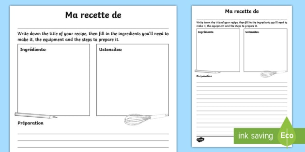 My Recipe For Writing Worksheet   Worksheet French