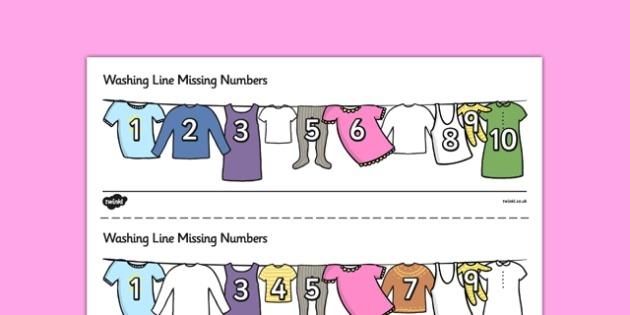 Washing Line Missing Number To 10 Worksheet   Worksheets
