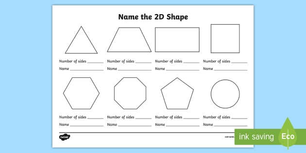 Name The 2d Shape Ks1 Worksheet