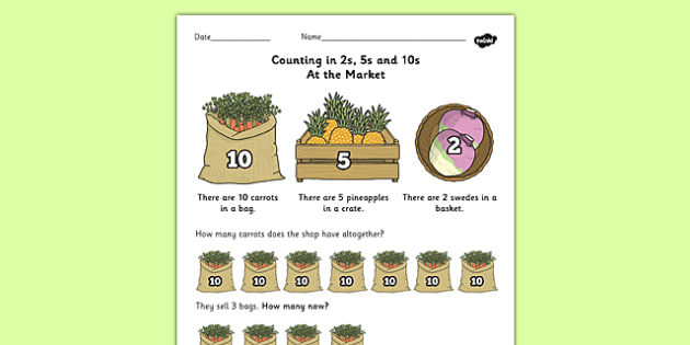 Counting In 2s 5s And 10s Multiplication Worksheet