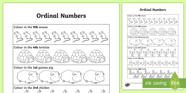 Ordinal Numbers Worksheet   Worksheet
