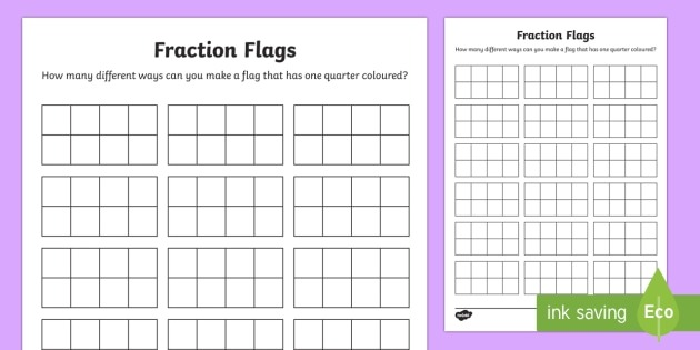 Fraction Flags Maths Mastery Worksheet   Worksheets