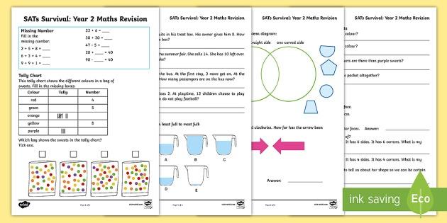 Sats Revision  Year 2 Sats Practice Worksheets