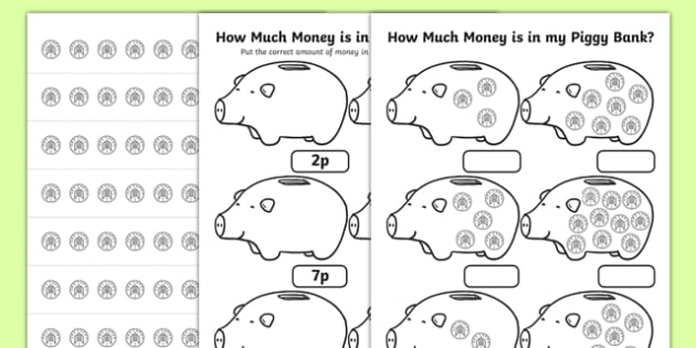 How Much Money Is In My Piggy Bank 1p Worksheet