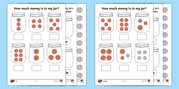 How Much Money Is In My Jar  British Money Differentiated Worksheet