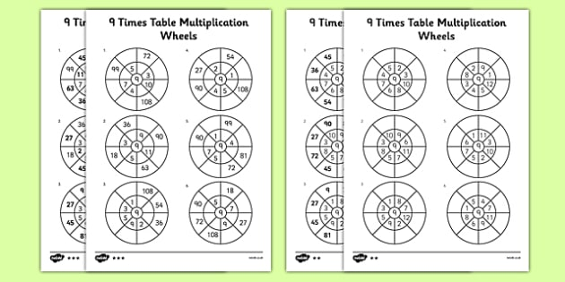 9 Times Table Multiplication Wheels Worksheet   Worksheet Pack