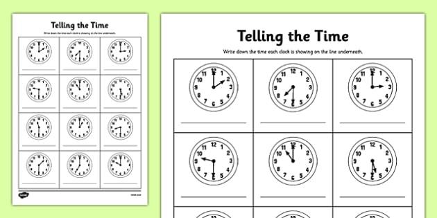 Half Past Time Worksheets