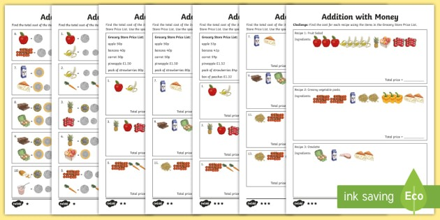 Addition With Money Differentiated Worksheet   Worksheets